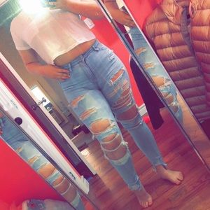 American Eagle Super Distressed Jeans